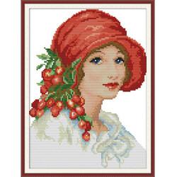 Жена с червена шапка - Комплект за шиене