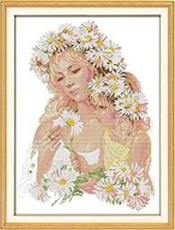 Майка дъщеря и цветя 45/59 см