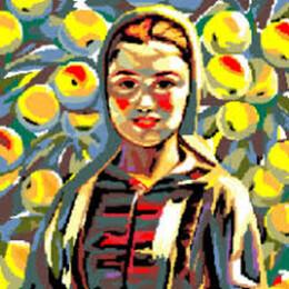 Момичето и ябълките 30/40 см