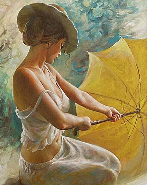 Дамата с жълтия чадър