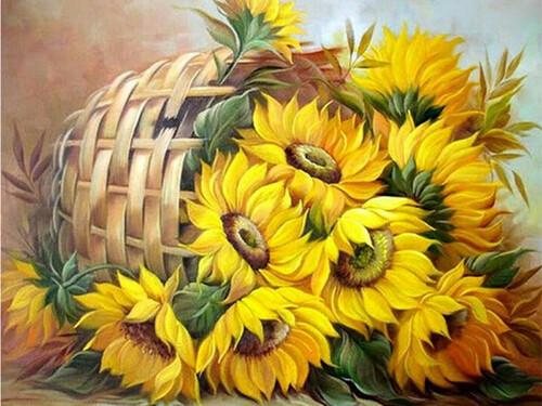 Слънчогледи в кошница 40/30 см