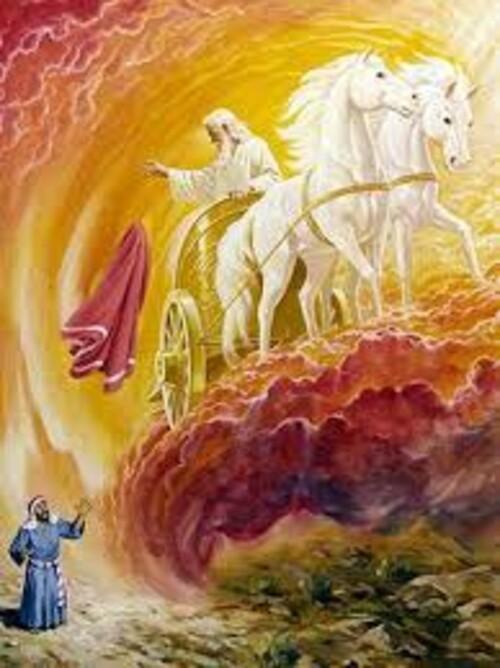 Пророк Илия и огнената колесница 40/50 см
