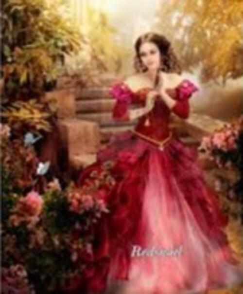 Жена с червена рокля 40/50 см