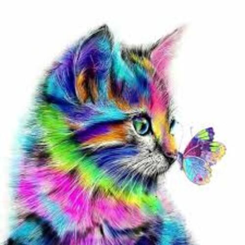 Коте и пеперуда 30/30 см