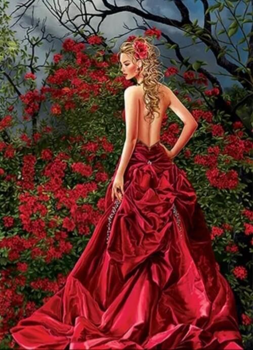 Жена с червена рокля 25/35 см